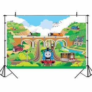 Image 1 - 漫画列車写真撮影背景きかんしゃトーマス鉄道ブリッジ壁紙スタジオ写真バナー背景