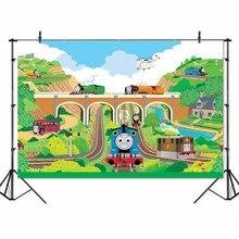 Fondos para fotografía con dibujo de tren, mural de papel con motor de tanque Thomas, puente ferroviario, estudio fotográfico, pancarta