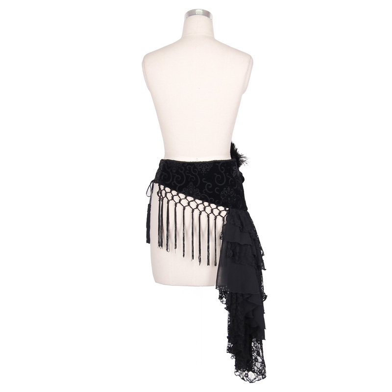 Gothic Steampunk Female Belt Gothic Pattern High Quality Belts For Women Black Slimming Tassels Waist Belt With Feather