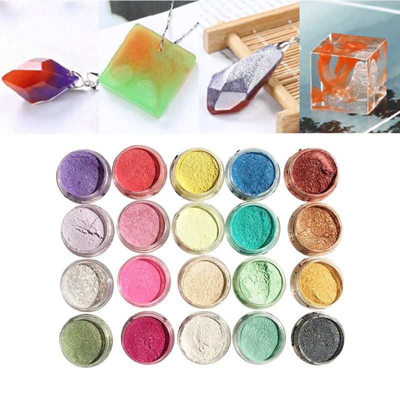 20 Pcs/set Pearlescent Powder Manual DIY Jewelry Filler Crystal Mud Epoxy Resin Color Dye Pigment   T4MD