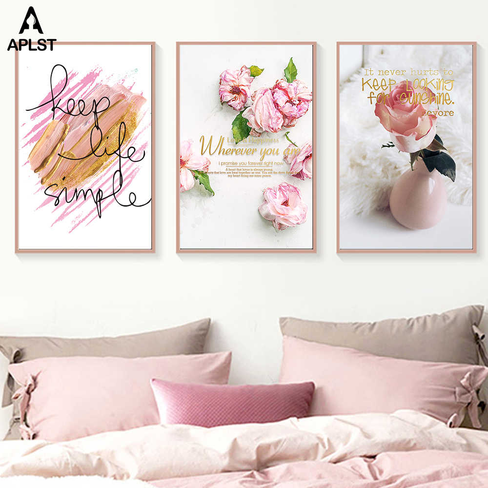 Pink Rose Vase Flower Canvas Prints Keep Life Simple Words Poster Peony Picture Decoration for Living Room Modern Wall Art Decal