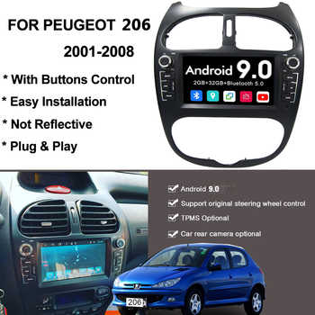 YAZH Android 9.0 DVD CD Player For Peugeot 206 2002 2003 2004 2005 2006 2007 2008 Auto Radio With Bluetooth 5.0 Screen Link SWC - DISCOUNT ITEM  14 OFF Automobiles & Motorcycles