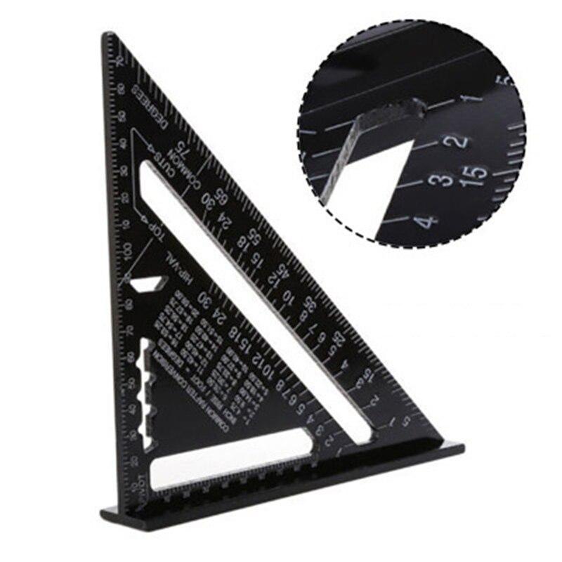 Regla triangular de 7 pulgadas, herramienta de medida con diseño cuadrado de velocidad de carpintero, escuadra triangular de aleación de aluminio
