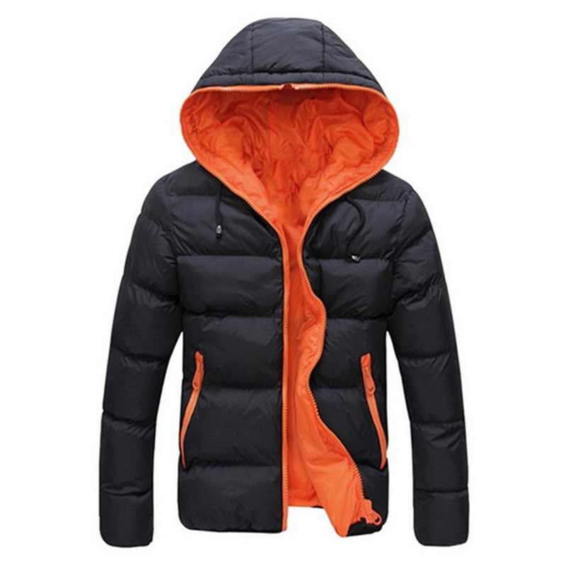 Sfit 2020 남성 캐주얼 후드 파커 겨울 남성 패션 패치 워크 코튼 슬림 피트 코트 두꺼운 웜 옴므 파커 지퍼 자켓