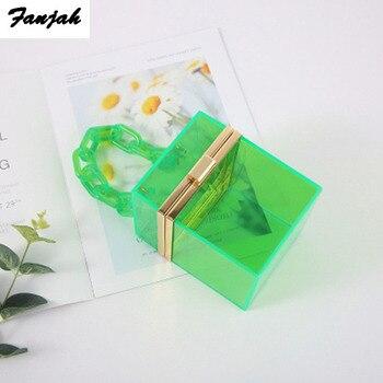 Clear acrylic clutch Purse women transparent bag plastic box bag Dubai girl vintage retro party handbag summer bag purse totes