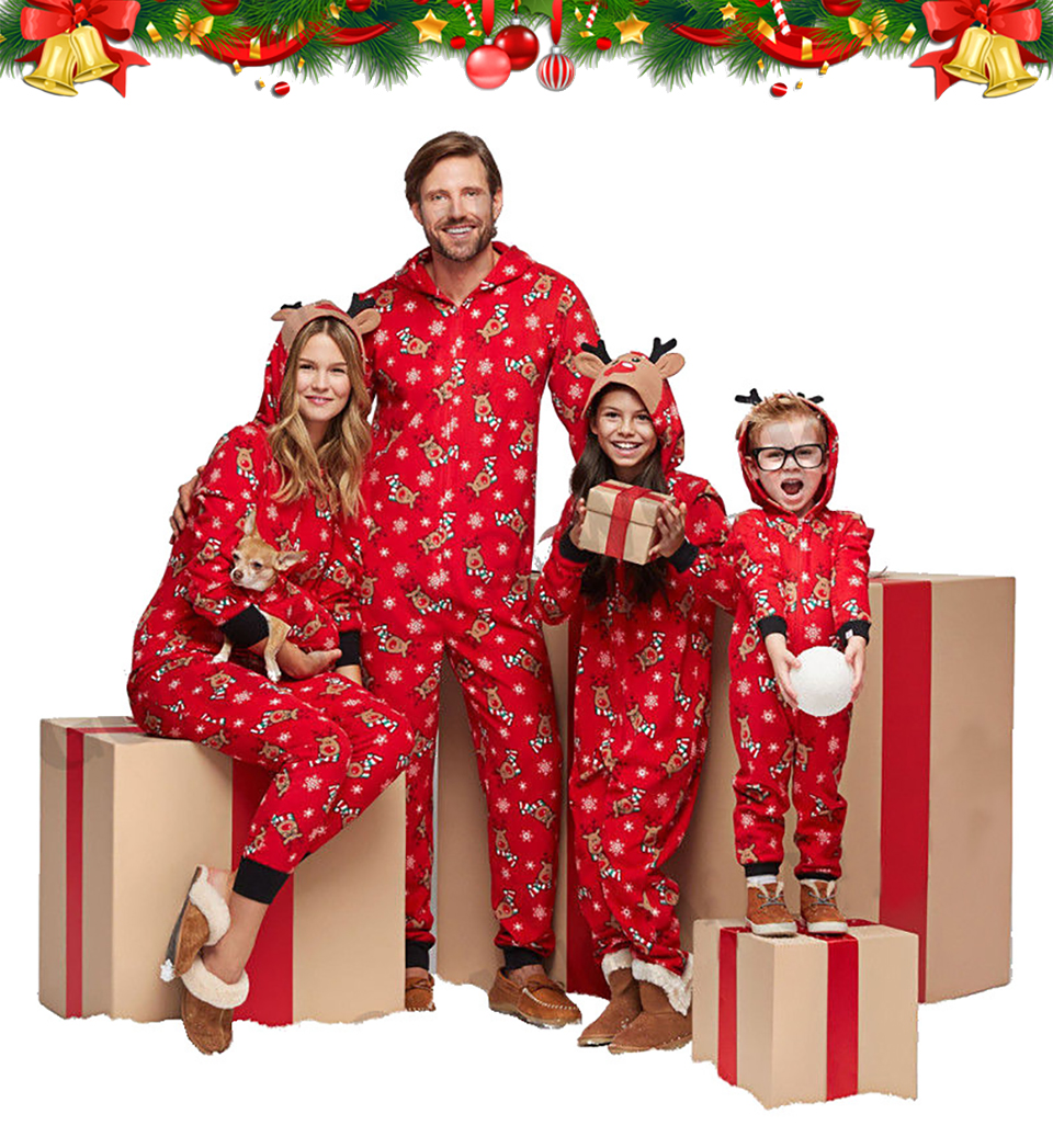 Christmas Pajamas Family Matching Clothes 2020 Red Hooded Romper Mother And Daughter Father Son Outfits Mom Baby child Sleepwear