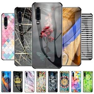Image 2 - Étui de luxe Pour Huawei P30 Téléphone Pare chocs Motif Funda Pour Huawei P30 ELE L29 ELE L09 ELE L04 Trempé Verre Shockpro Couverture