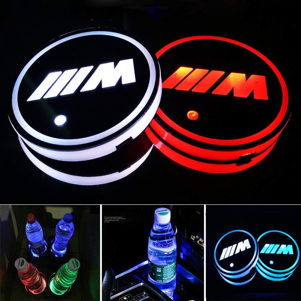 2X Led BMW M Logo Cup Light UBS Car Atmosphere Light Colorful Water Coaster FOR  BMW E46 E36 E34 F10 E90 F30 E60 F30 E53 E30 E92