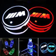 цена на 2X Led BMW M Logo Cup Light UBS Car Atmosphere Light Colorful Water Coaster FOR  BMW E46 E36 E34 F10 E90 F30 E60 F30 E53 E30 E92