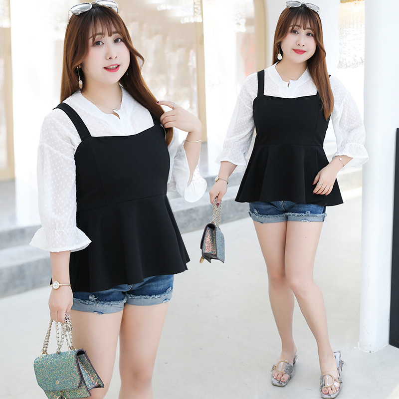 2019 Early Autumn New Style Fat Mm Large Size Dress Plus-sized Slimming Suspender Strap Set Tops 300 Catty Wear Y064