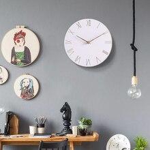 White Wood Clock Modern Minimalist Nordic Living Room Home Decoration Accessories  Mute Quartz Wall Clocks