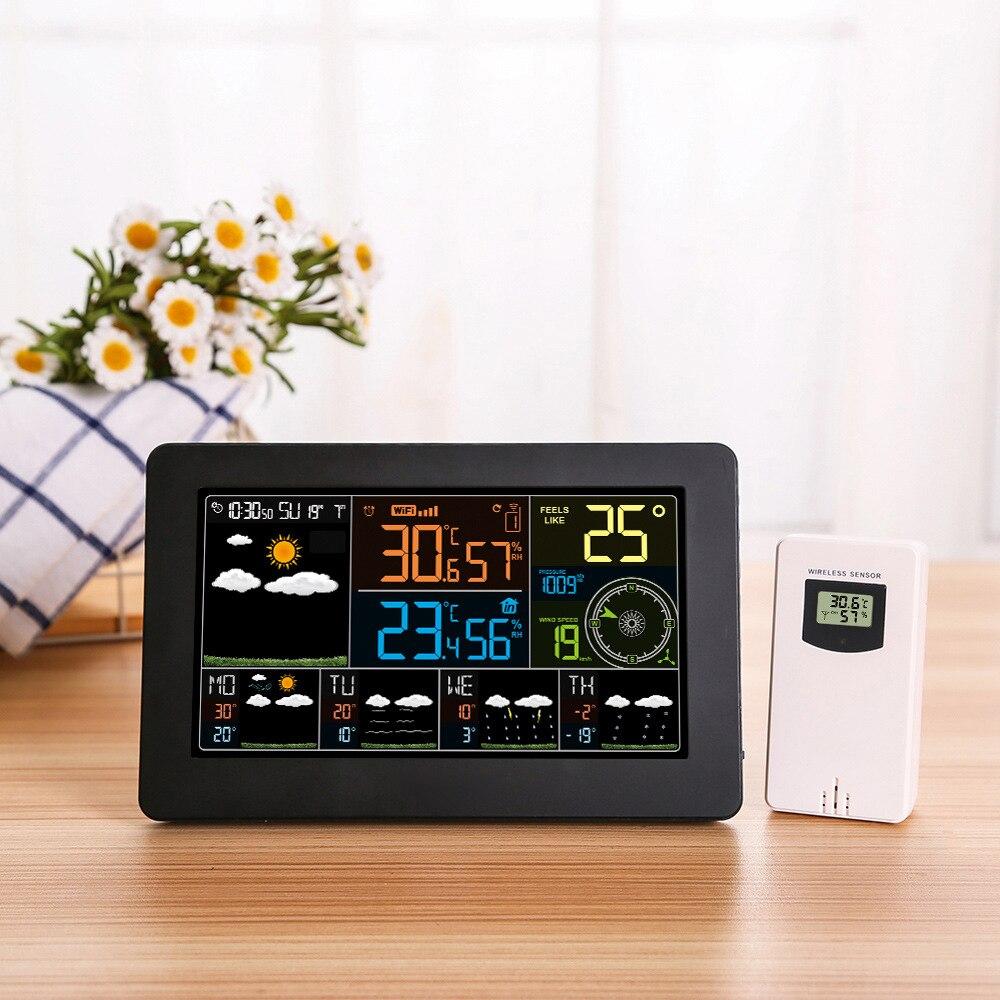 Digital LCD Alarm Clock Weather Station wifi Temperature Humidity Pressure Wind Weather Forecast Intelligent Clock EU/US Plug