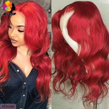 Remyblue 13*4 Red Burgundy Brazilian Body Wave Colored Lace Front Human Hair Wig For Black Women 150 Density Remy Lace Front Wig remyblue body wave wig 13 4 red burgundy 150 density lace front human hair wig for women colored peruvian remy human hair wigs