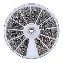 1000 шт Ассорти из нержавеющей стали винты для очков Набор с круглой пластиной для стеклянных электрических продуктов