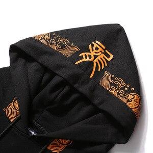Image 4 - 고대 중국 드래곤 인쇄 패션 까마귀 Streetwear 망 힙합 까마귀 스웨터 캐주얼 블랙 풀 오버 코튼 가을 2020