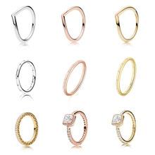 925 кольцо из стерлингового серебра бледно-шармы в форме сердца с розовым круглая с украшением в виде кристаллов квадратный Cz Кольцо на палец...