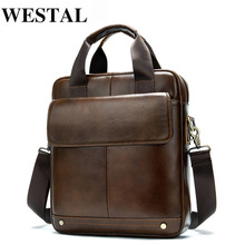 WESTAL Men's Shoulder Bag Men's Genuine Leather Men Handbag