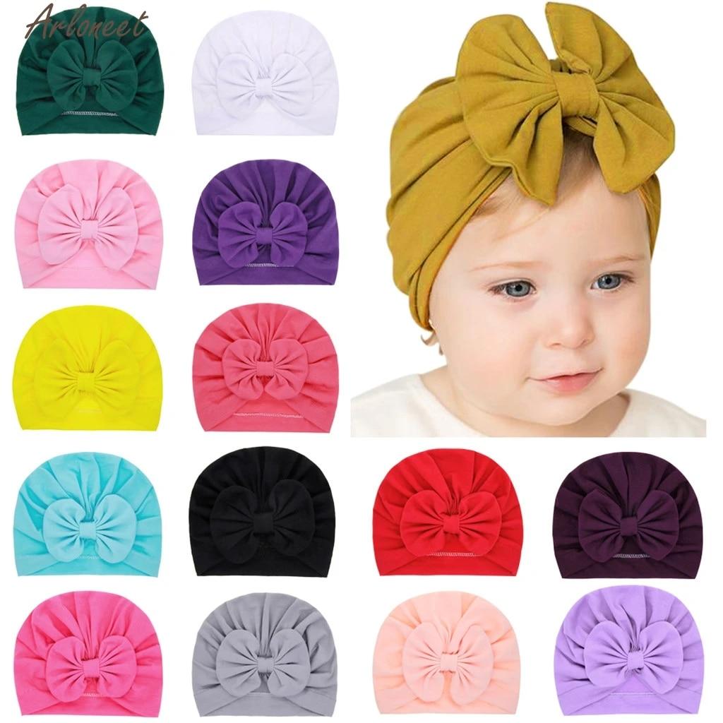 Headwrap Solid Color Kids Baby Turban Ball Knot Newborn Beanie Hat Winter Cap