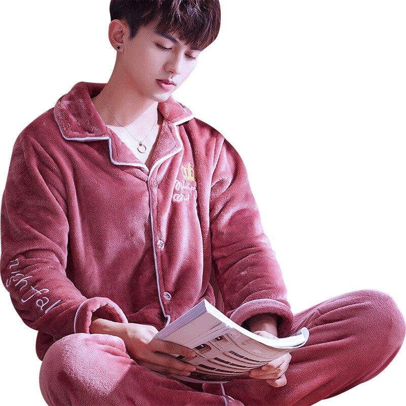 Men Sleepwear Pajama-Sets Letter Winter Clothing Lounge Flannel Warm Thick Coral-Fleece