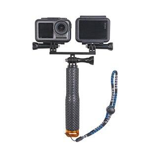 Image 5 - Gopro hero 8 7 6 5 xiaomi yi dji osmo 액션 카메라 용 스크류 마운트 어댑터가있는 금속 이중 이중 브래킷 삼각대 홀더 핸들