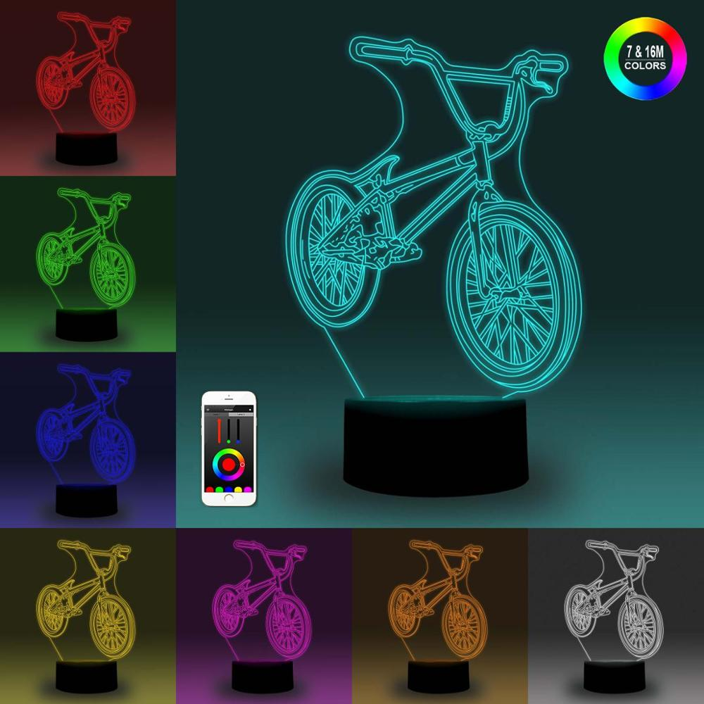 NiteApps 3D Bicycle Night Light Desk Table Illusion Decoration Lamp Holiday Birthday Gift APP/Touch Control