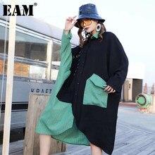 EAM-vestido holgado de manga larga con solapa nueva para primavera y otoño, traje a cuadros para mujer, color negro, verde, talla grande, 1DB538, 2021