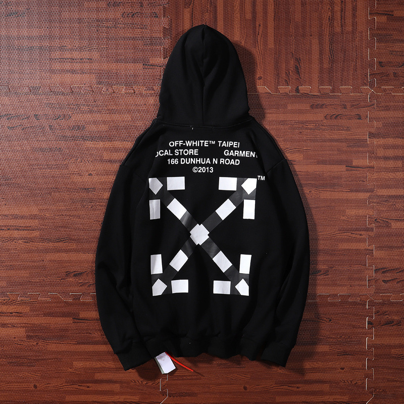 Europe And America Popular Brand Off White Taipei Stores Qualified Black And White Plaid Hooded Men And Women Couples Hoodie