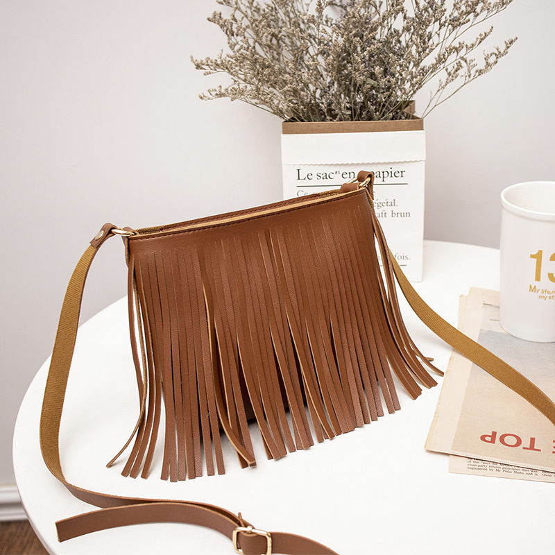 Women Bag Leather Handbag 2019 Designer Brand Luxury Large Capacity 4Color Tassel Mobile Coin Purse Shoulder Crossbody Women Bag