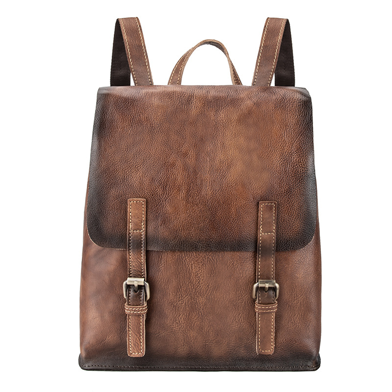 Genuine Leather Rucksack Knapsack Male Computer Bag Vintage School Daypack Bags backpacks Oil Wax Cowhide Men Backpack