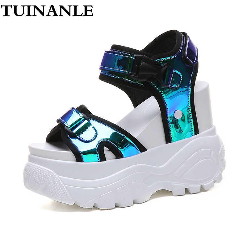 TUINANLE Platform sandaletler Muffin alt 2020 senfoni tıknaz süper yüksek topuk öğrenci artırmak yaz plaj ayakkabısı Sandalias Mujer