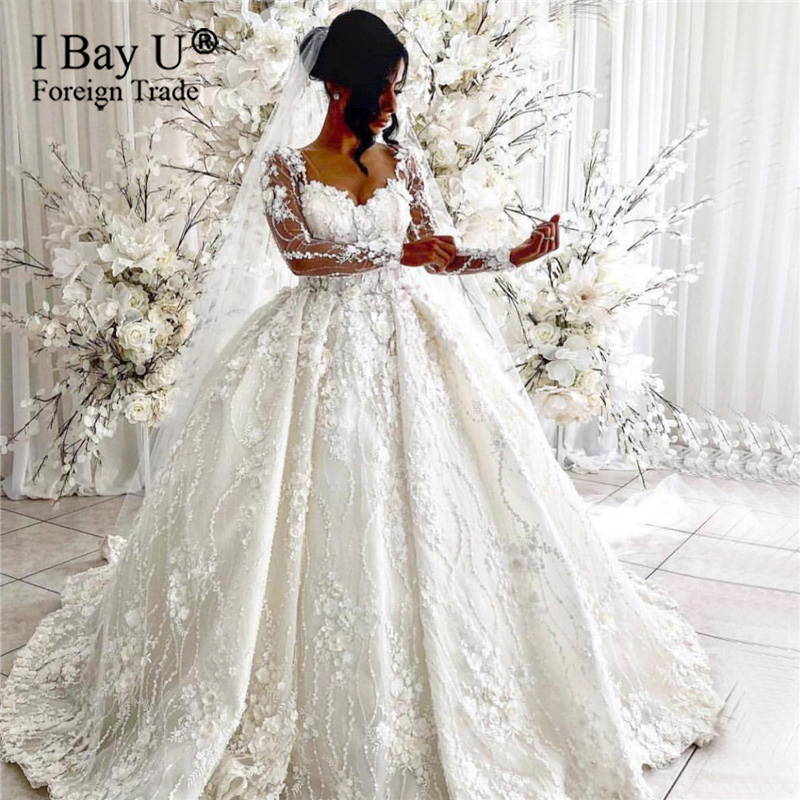 Off White Handmade 3d Flower Lace Wedding Dress Long Sleeve 2020