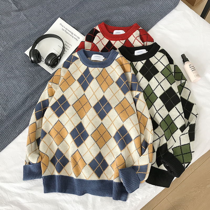 Winter Sweater Men Warm Fashion Contrast Casual Plaid Knit Sweaters Man Sweter Clothes Loose Long Sleeve Pullover Men M-2XL