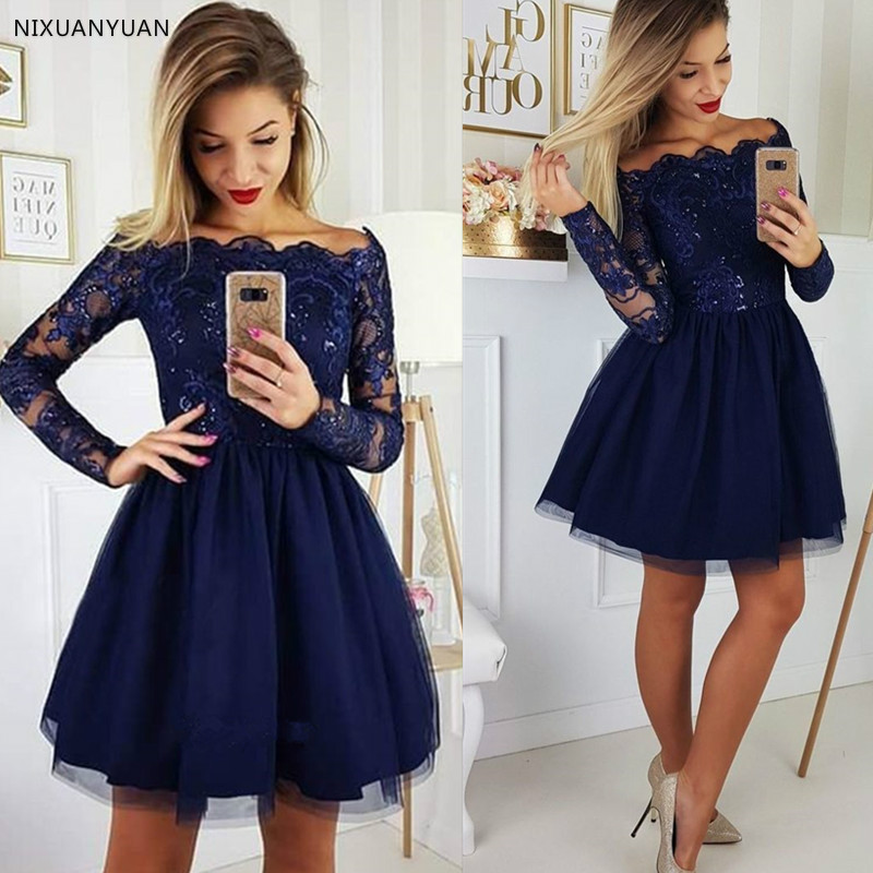 Elegant Boat Neck Off The Shoulder   Prom     Dress   with Beads Lace Applique Zipper Back Knee-Length Cocktail   Dress   Family Part   Dress