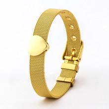 Klassische Edelstahl Mesh Uhr Gürtel Armband Für Frauen Paar Liebhaber Original Herz Form Charme Armband armband Armreif Schmuck