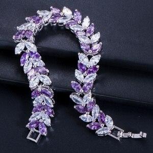 Image 4 - Pera Luxe 925 Sterling Zilveren Bruids Partij Sieraden Bladvorm Cz Crystal Stone Grote Bruiloft Armbanden Armband Voor Bruiden B025