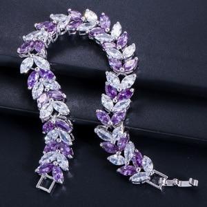 Image 4 - Pera Luxury 925 Sterling Silver Bridal Party Jewelry Leaf Shape CZ Crystal Stone Big Wedding Bracelets Bangle for Brides B025