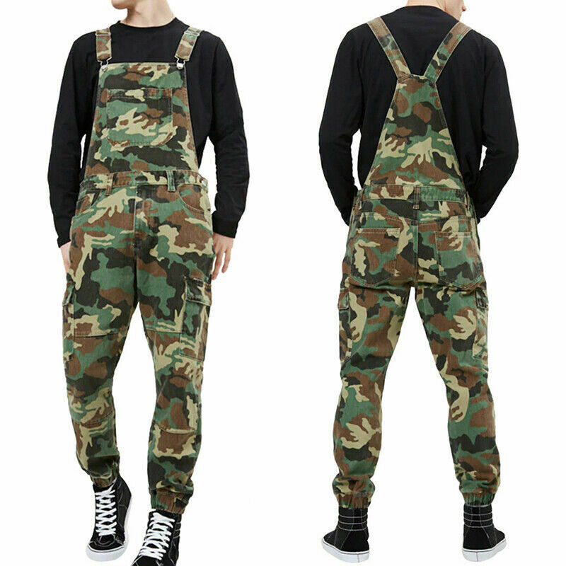 2020 Mens Autumn New All-match Dungarees Workwear Overalls Camouflage Combat Jumpsuit Bib Pants High Waist Motorcycle Streetwear