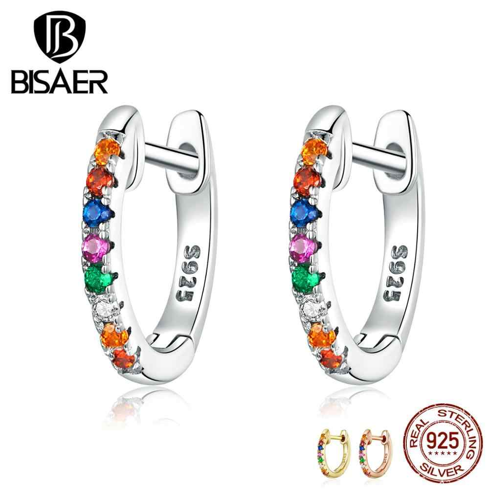 Stud Earrings BISAER Hot Sale 925 Sterling Silver Round Circle Women Earrings Colorful Cubic Zircon CZ Silver Jewelry ECE721