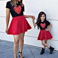 Mama Und Tochter Kleider Sommer Kurzarm Herz Druck T-shirt Rock Set Mama Und Mich Familie Passenden Kleidung Mädchen Röcke
