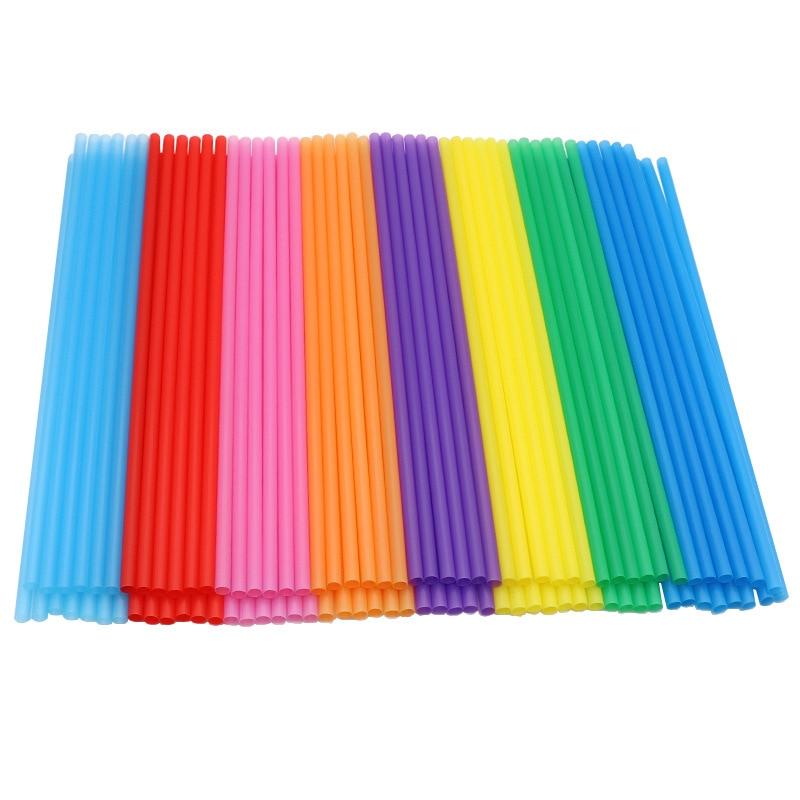 Лидер продаж, одноразовая цветная пластиковая труба, 6*100 мм, креативная прямая труба ручной работы «сделай сам», 190, один цвет, 8 цветов, смеша...