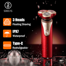 SOOCAS S3 Electric Razor Shaver 3D Trimmer Beard Type C Rechargeable Shaving Machines Trims Electric 3D Floating Shaver Men IPX7
