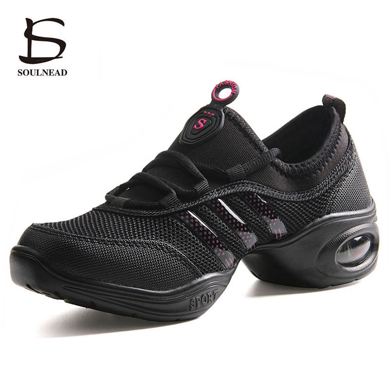 Women's Jazz Dance Shoes Woman Girls Soft Outsole Breath Mesh Sports Feature Dance Sneakers Ladies Fitness Practice Dancing Shoe