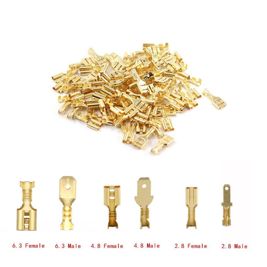 100 pçs/lote 2.8/4.8/6.3mm terminal conector de frio e masculino ouro bronze/prata alto-falante do carro fio con