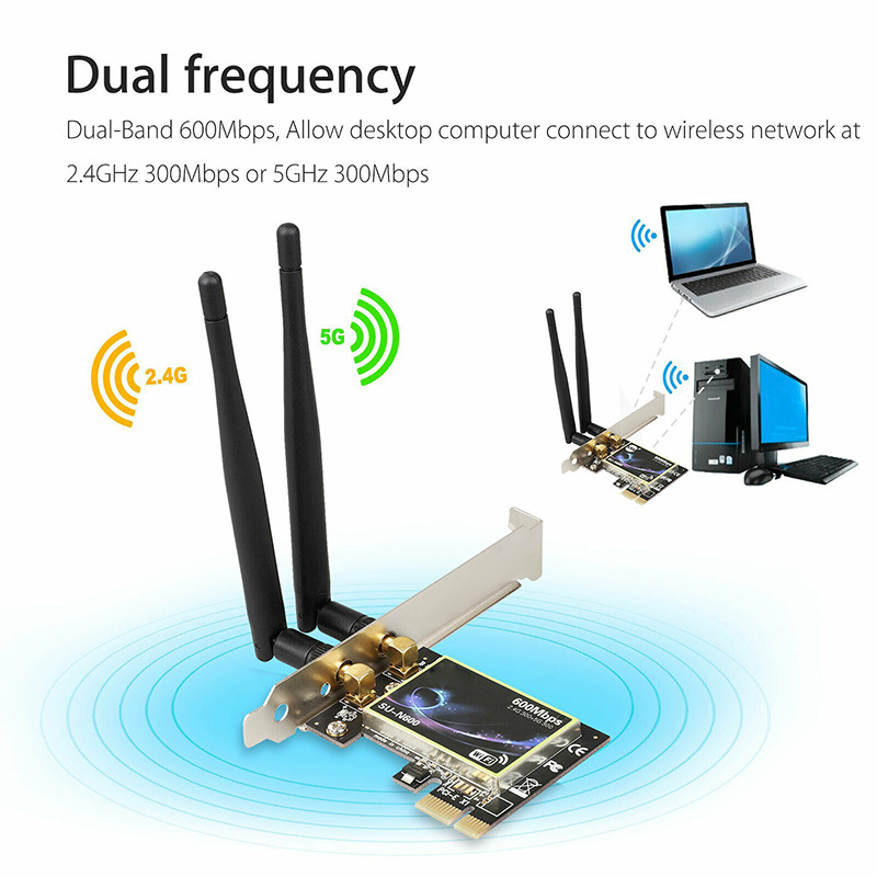 Dual Band 2.4G/5G PCI-E WiFi Wireless Card Adapter 600Mbps For Desktop Computer VH99