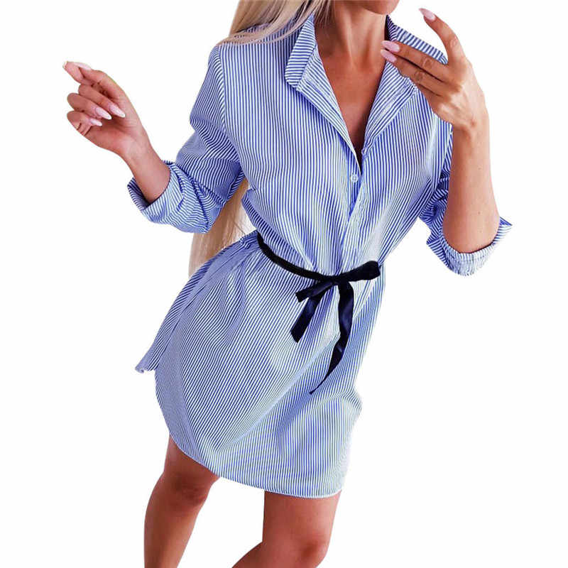 Vrouwen Lente Herfst Dress Fashion Casual Lange Mouwen Stand-Hals Streep Print Mini Jurk Met Riem Elegante Bodycon A-lijn jurk