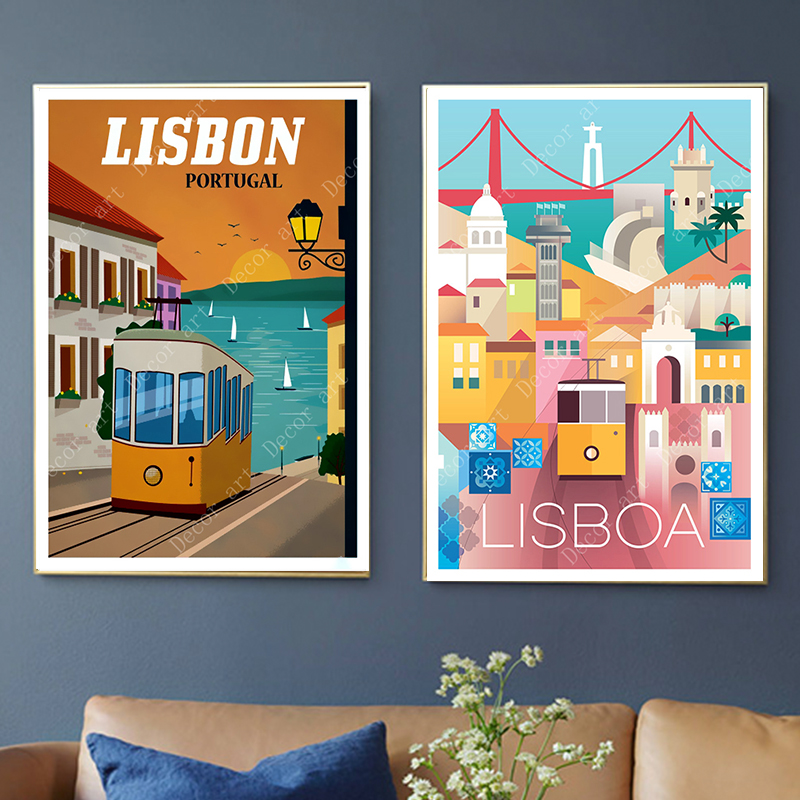 Pop Art Lisbon Portugal Travel Canvas Paintings Vintage Wall Kraft Posters Coated Wall Stickers Home Decor Pictures Gift