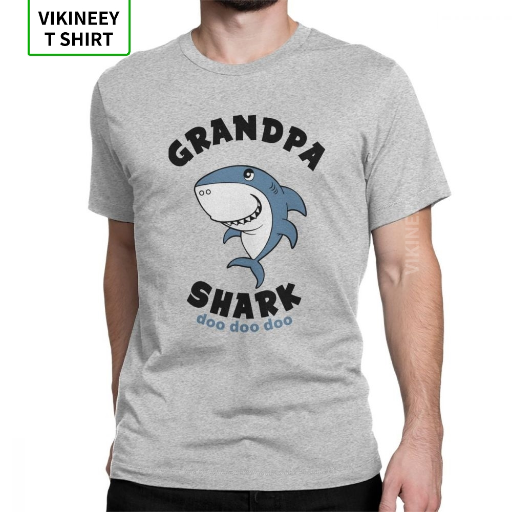 Men T Shirts Grandpa Shark Doo Doo Slim Fit Short Sleeve Grandfather Granddad Family Gifts Tees O Neck Clothes Cotton T-Shirt