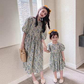 2020 letnia sukienka dla rodziców i dzieci matka i córka wokół szyi szyfonowa kwiecista sukienka tanie i dobre opinie SZLAPRMK Suknie Nowość Krótki Pasuje prawda na wymiar weź swój normalny rozmiar COTTON Polka dot
