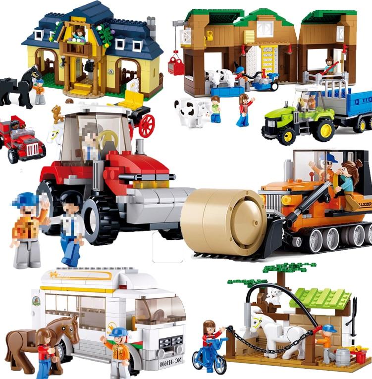 Compatible Legoed  Friends Farm Sets Roll-off Truck Bus House Villa Blocks Horse Model Building Kits Educational Child Kids Toys