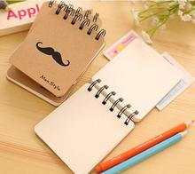 1pack/lot mini coil notebook Mustache series Kraft paper students Portable stationery